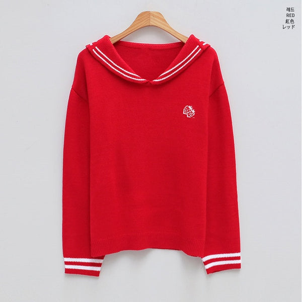 Harajuku Kawaii Fashion School Unform Style Strawberry Milk Knit Sweater (Pink/Red)