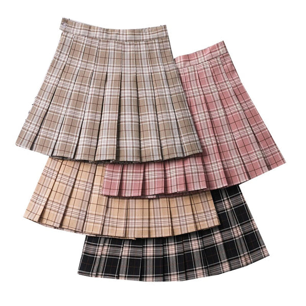 Harajuku Neutral Colors Pleated Tennis Skirt