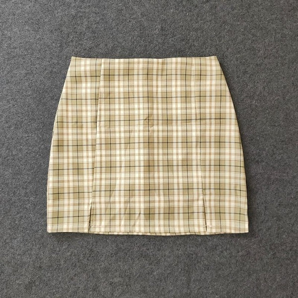Harajuku Plaid Tight Skirt With Front Slits (8 Colors) XS-XL