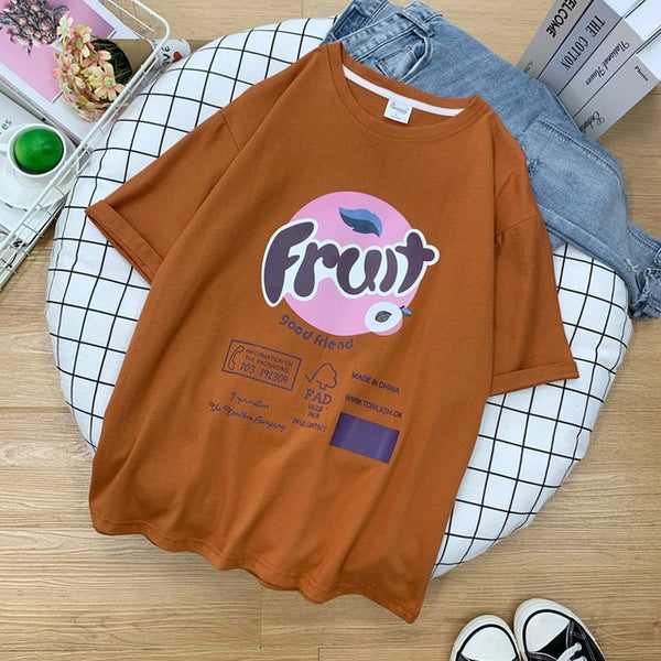 Harajuku Fruit Logo Oversized Tshirt (6 Colors)