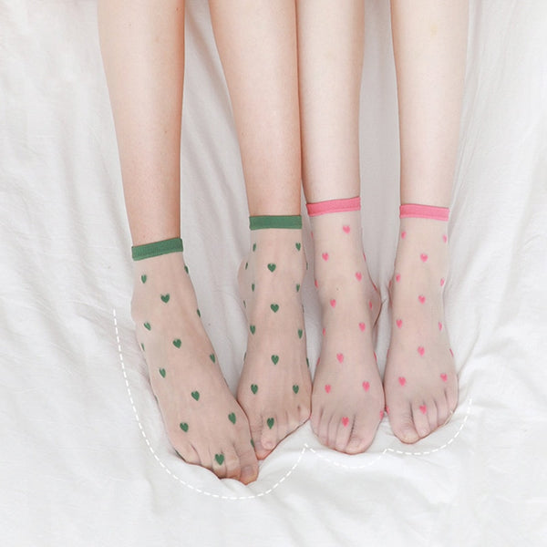 Harajuku Sheer Heart Pattern Socks (7 Colors)