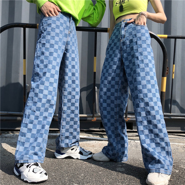 Harajuku Streetstyle Checkered Wide Leg Jeans