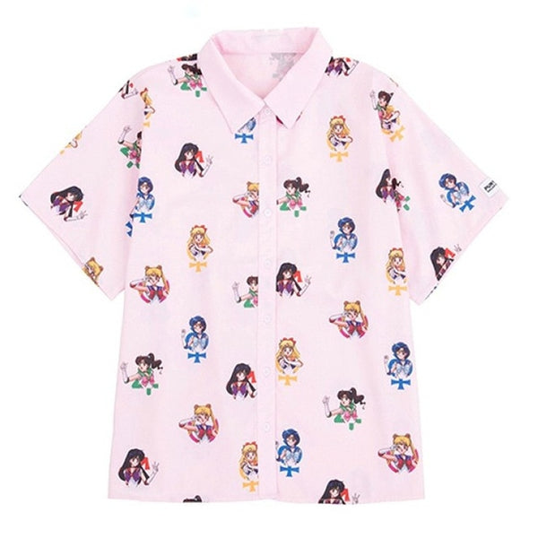 Harajuku Sailor Moon Print Button Up Shirt