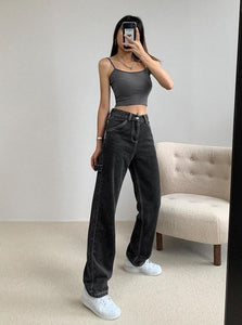 High Waist Straight Leg Jeans (Graphite/Light Wash)