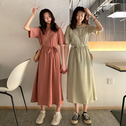 Korean Style Pastel Midi Summer Dress (Pink/Beige)