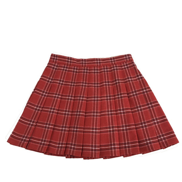 Plus Size Harajuku Kawaii Fashion Plaid Pleated Skirt (8 Rainbow Colors)