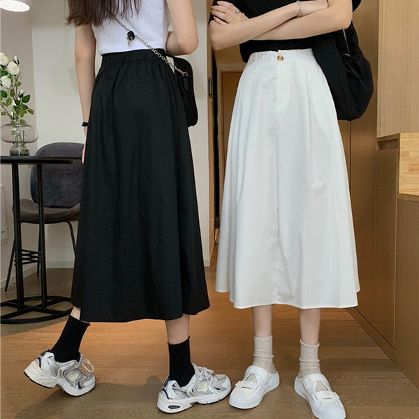 Harajuku Korean Style Midi Skirt (Black/White)