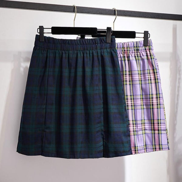Plus Size Harajuku Plaid Tight Skirt With Front Slits (Purple/Green)