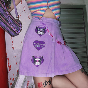 Harajuku 90s Yami Kawaii Fashion Kuromi Pastel Pleated Denim Skirt (Purple)