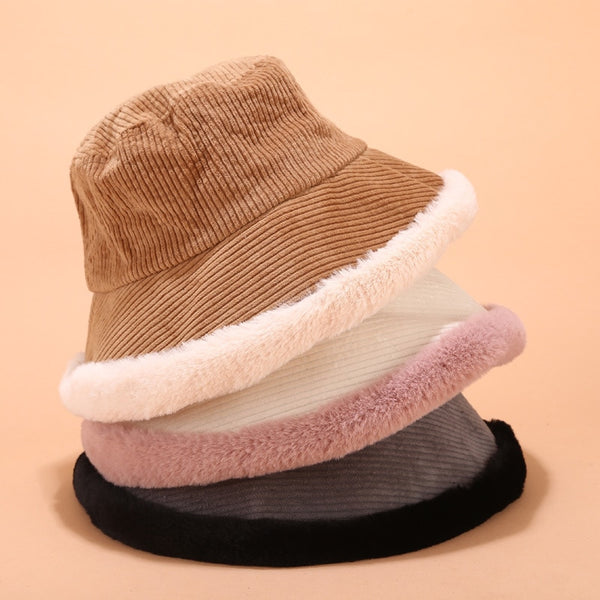 Harajuku Korean Style Corduroy Fur Rim Bucket Hat (5 Colors)