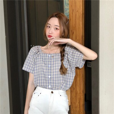 Korean Style Powder Blue Gingham Button-up Shirt