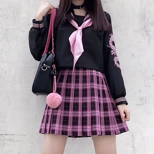 Harajuku Sailor Uniform Style Top with Dragon Sleeve Print (Black/Pink)