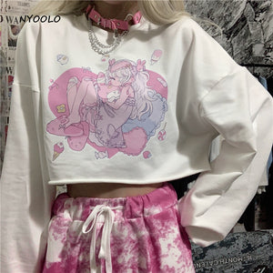 Harajuku Kawaii Fashion Anime Menhera Girl Cropped Sweatshirt