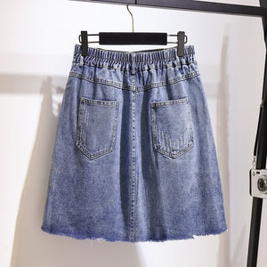 Plus Size Harajuku Kawaii Denim Mini Skirt With Embroidered Daisy