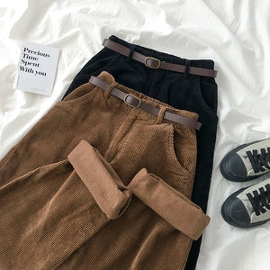Harajuku Ulzzang High Quality Fall Corduroy Pants (Black/Brown)