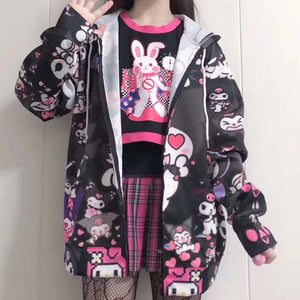 Plus Size Harajuku Kawaii Fashion Kuromi My Melody Hello Kitty Windbreaker Jacket (3 Colors)