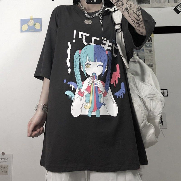 Plus Size Harajuku Yami Kawaii Fashion Pastel Anime Girl T-shirt (White/Black)