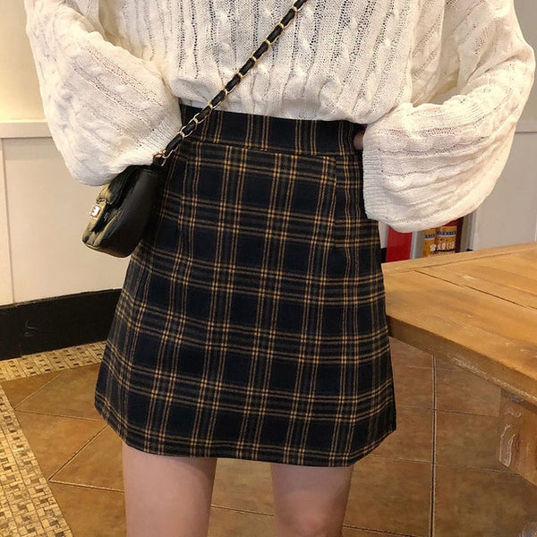 Korean Style Classic A-line Checkered Mini Skirt (Brown/Navy)
