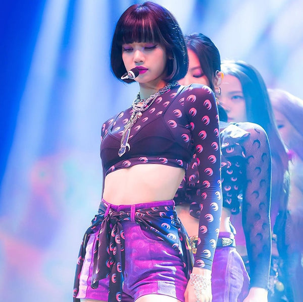 Blackpink Lisa Style Black Moon Print Crop Top