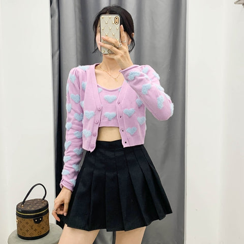 Harajuku Kawaii Fashion Hearts Top and Cardigan Two-Piece Set