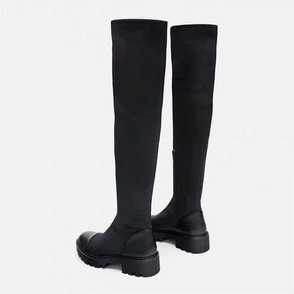 Harajuku Chunky Sole Long Nylon Boots