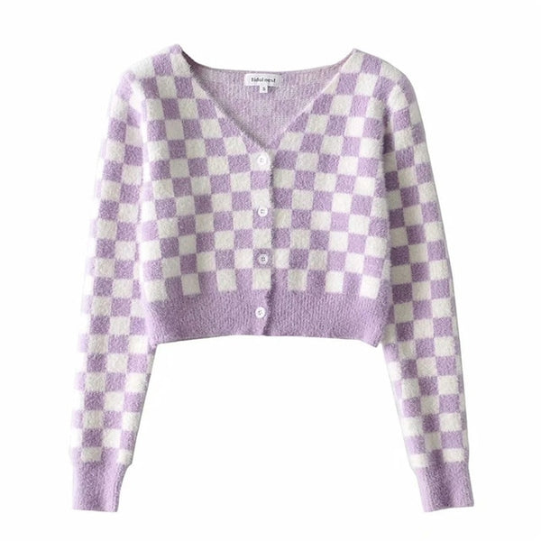 Harajuku Kawaii Fashion Pastel Checkered Cropped Cardigan