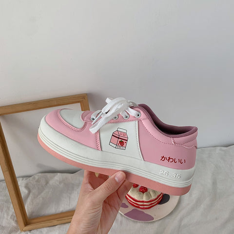 Harajuku Kawaii Fashion Strawberry Milk Sneakers (Pink/Red)