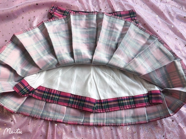 Harajuku Kawaii Fashion Style Hot Pink Plaid Pleated Mini Skirt