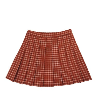 Plus Size Harajuku Kawaii Fashion Style Pleated Plaid Skirt (Pumpkin Orange)