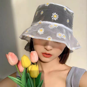 Harajuku Korean Style Sheer Daisy Bucket Hat