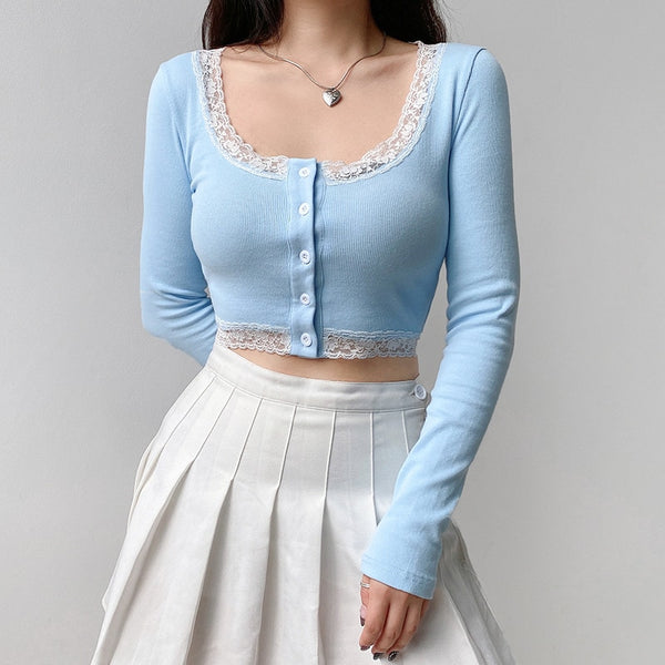 Harajuku Korean Style Lace Trim Cropped Cardigan