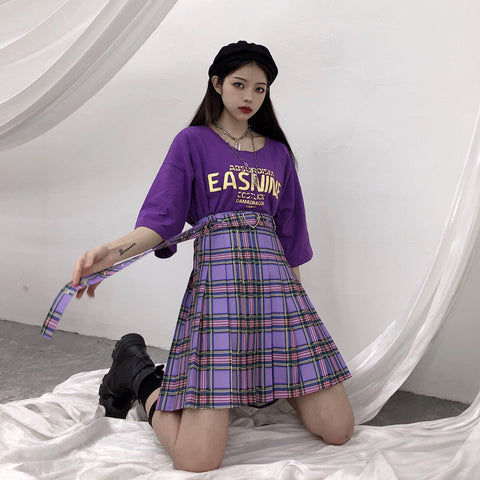 Plus Size Harajuku Kawaii Fashion Knee Length Purple Plaid Skirt with Heart Buckle Belt
