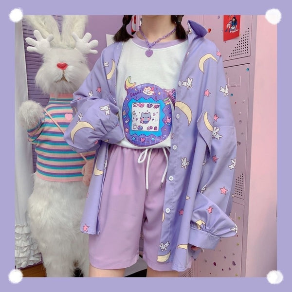 Harajuku Kawaii Fahion Moon Print Oversized Button-Up Shirt (Purple)