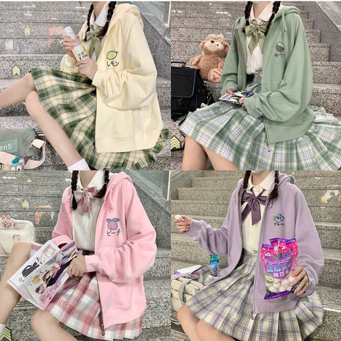 Harajuku Kawaii Fashion Japanese School Uniform Zip Up Fruit Hoodie (5 Colors)