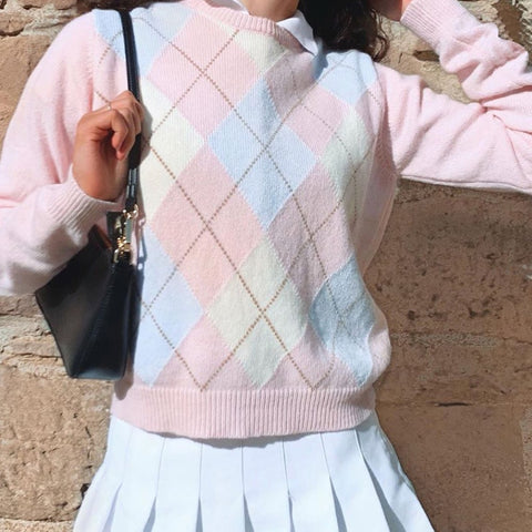 Harajuku Kawaii Fashion Pastel Diamond Knit Sweater