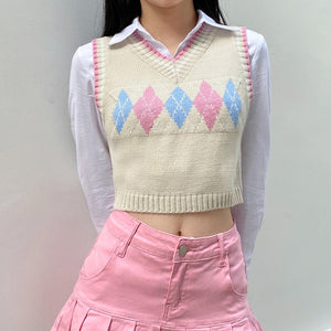 Harajuku Kawaii Fashion Pastel Diamond Knit Cropped Vest
