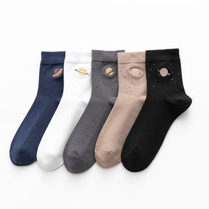 Harajuku Kawaii Fashion Neutral Color Planet Socks