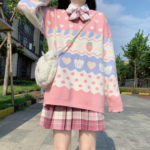 Harajuku Kawaii Fashion Pastel Strawberry Polka Dot Knit Sweater