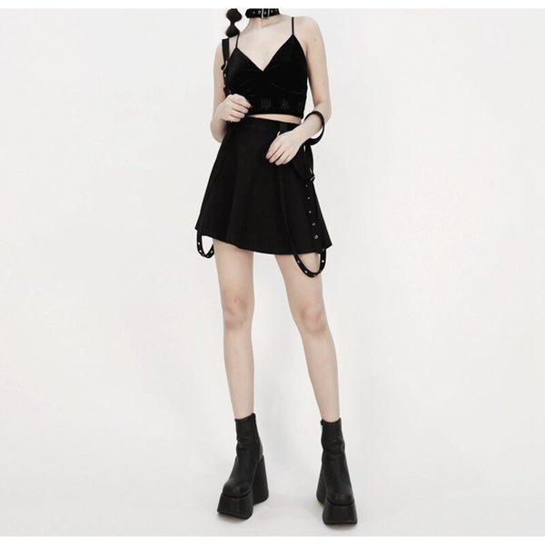 Harajuku Yami Kawaii Fashion Gothic Suspender Mini Skirt