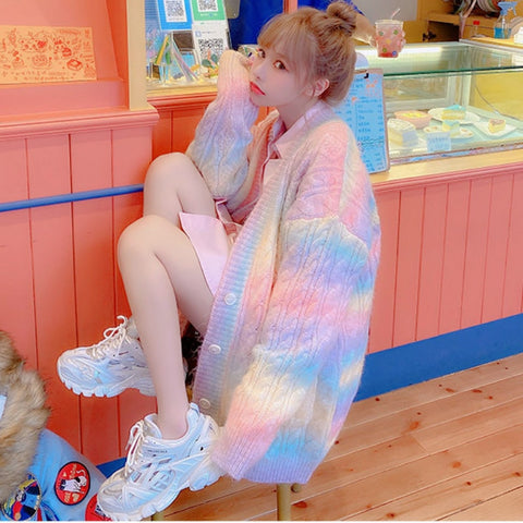 Harajuku Kawaii Fashion Pastel Rainbow Knit Long Cardigan
