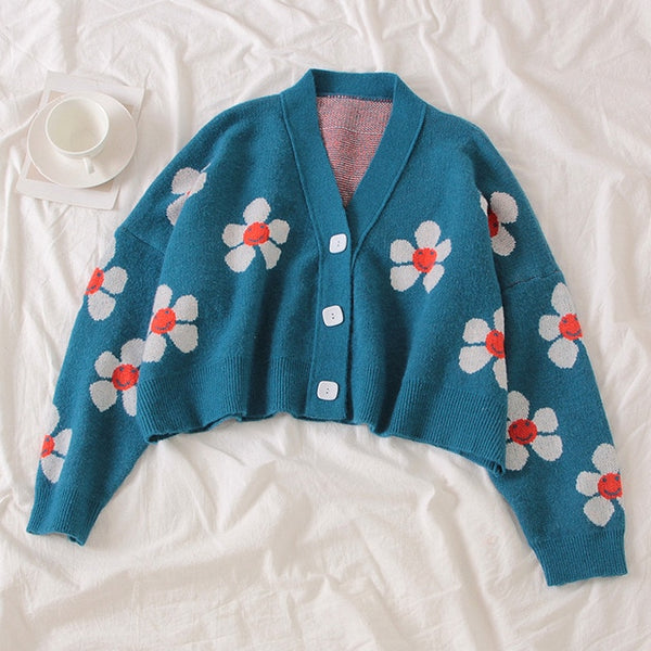 Harajuku Kawaii Fashion Retro Oversized Flower Cardigan (4 Colors)