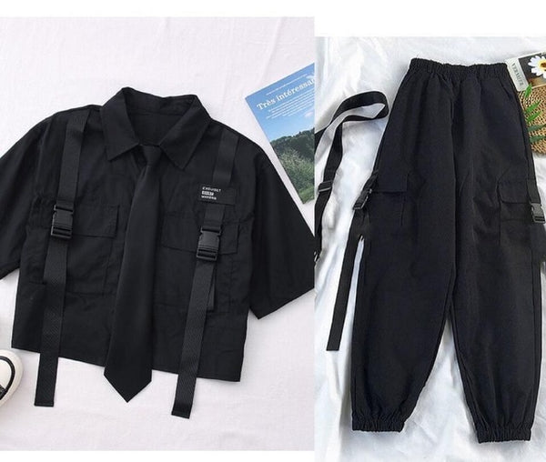 K-pop Korean Street Fashion Cargo Pants Cropped Shirt Two Piece Set