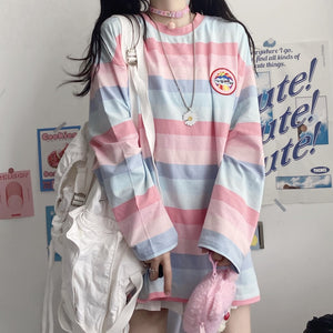 Harajuku Long Sleeve Striped Pastel Spaceship Tshirt