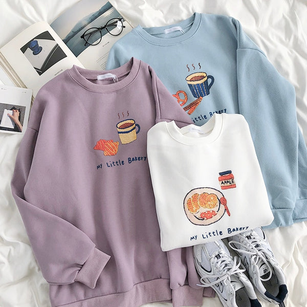 Harajuku Kawaii Fashion My Little Bakery Print Sweatshirt (3 Colors)