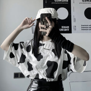 Harajuku Kawaii Fashion Cow Print Oversized T-shirt