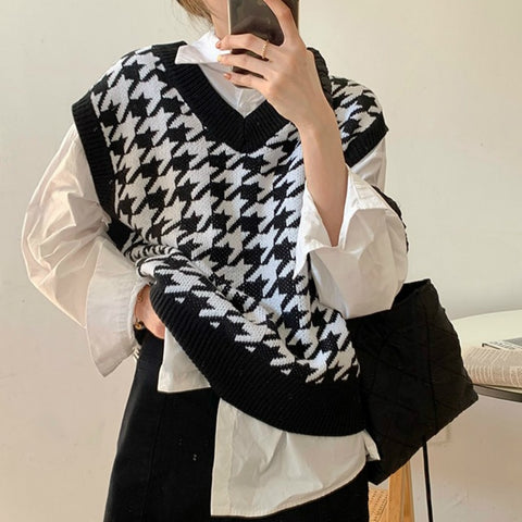 Korean Style Houndstooth Oversized Knit Vest (4 Colors)