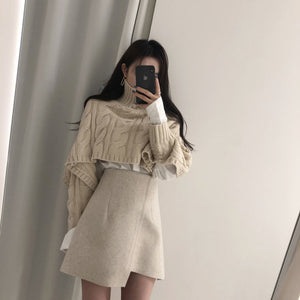 Korean Style Beige Cropped Sweater Wrap Skirt Two Piece Set