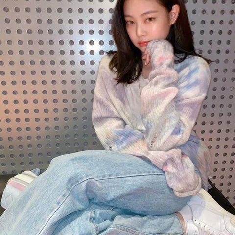 Blackpink Jennie Kim Oversized Pastel Knit Sweater