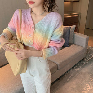 Harajuku Kawaii Fashion Pastel Rainbow Knit Cropped Cardigan