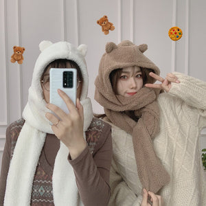 Harajuku Bear Hat Hood Scarf (4 Colors)